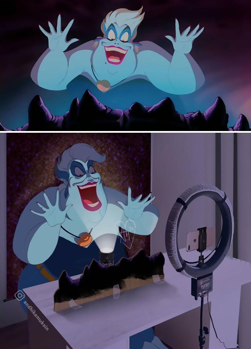 Artis Menciptakan Ilustrasi Lucu di Belakang Panggung Adegan Terkenal Disney