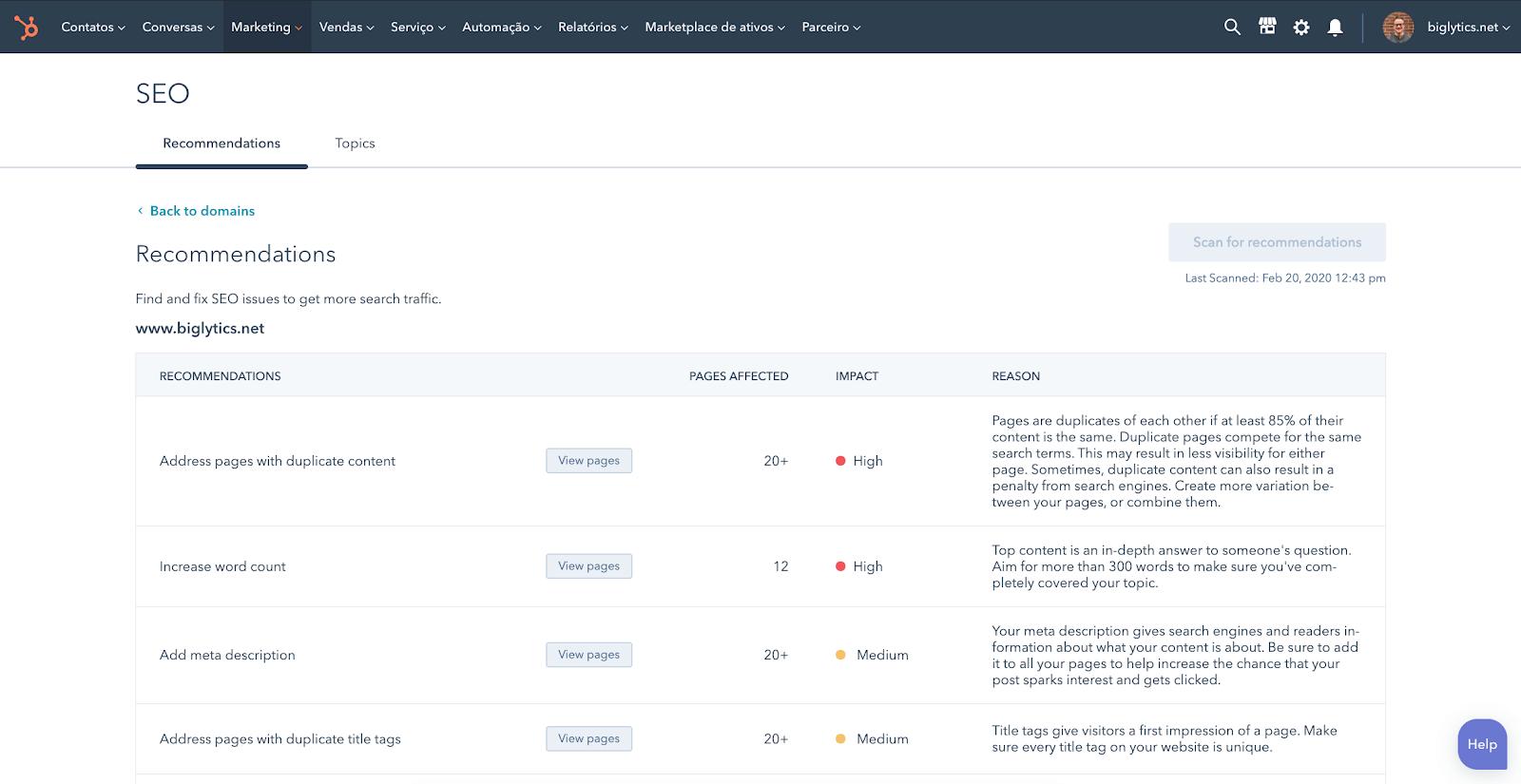 demo alat pengoptimalan mesin pencari hubspot marketing hub