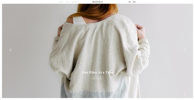 Homepage of Woven Magazine, an award-winning website