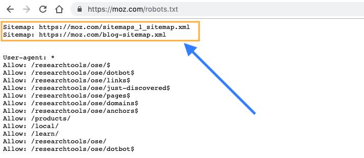 Peta situs di robots.txt