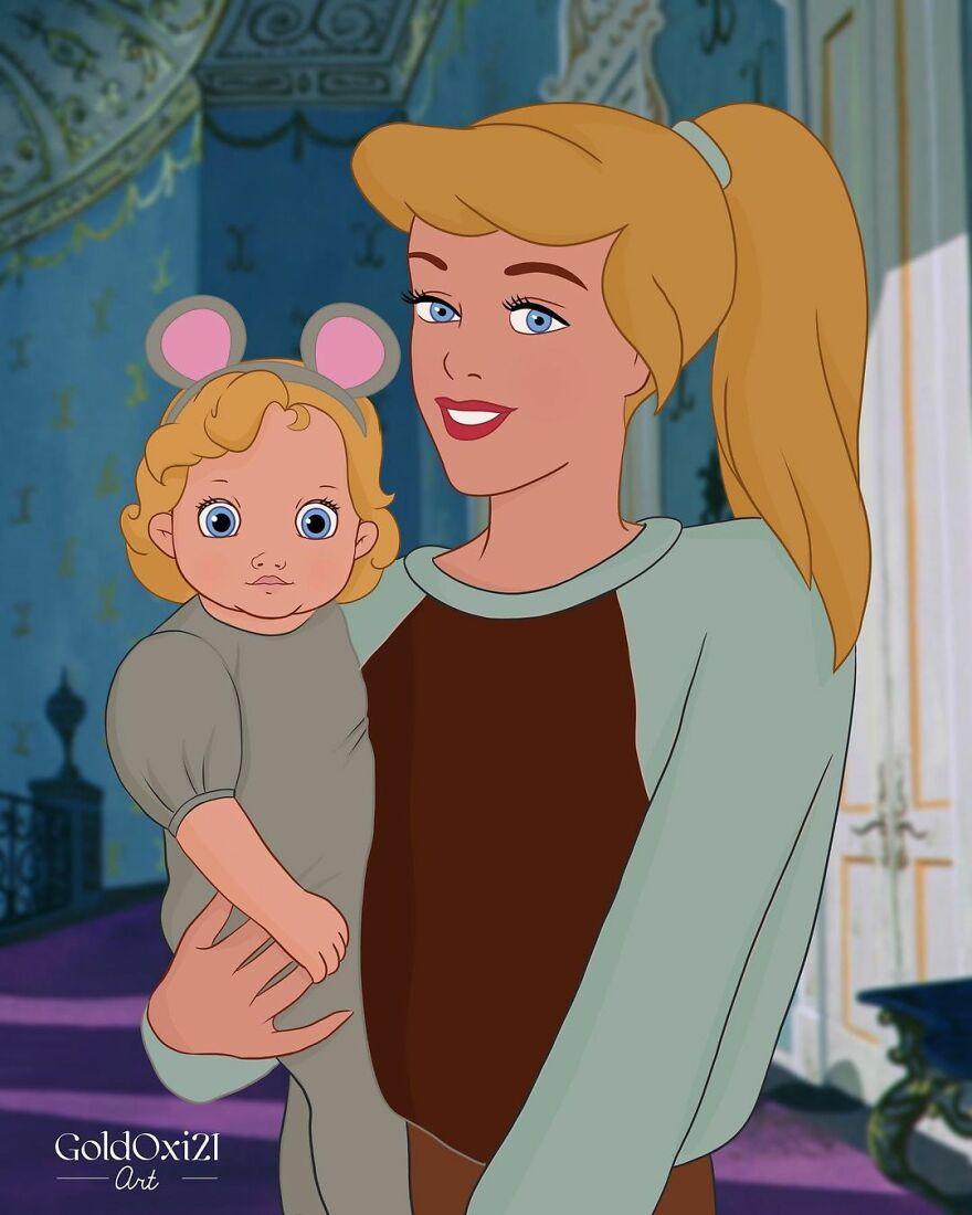 Artis Rusia Menata Ulang Putri Disney Sebagai Ibu dengan Bayi