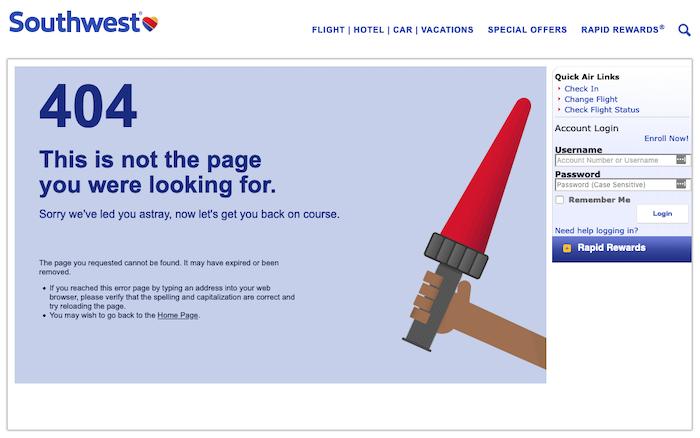 Perbaiki 404 kesalahan Southwest