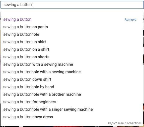 """hasil saran otomatis youtube untuk """"menjahit kancing"""""""