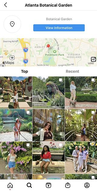 Instagram Stories posted with the location Atlanta Botanical Garden