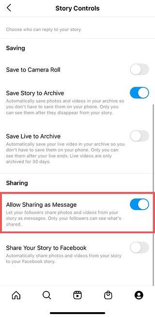 Instagram Story sharing settings