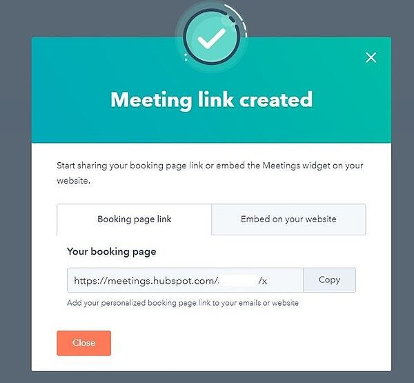 screenshot of meeting link created in hubspot