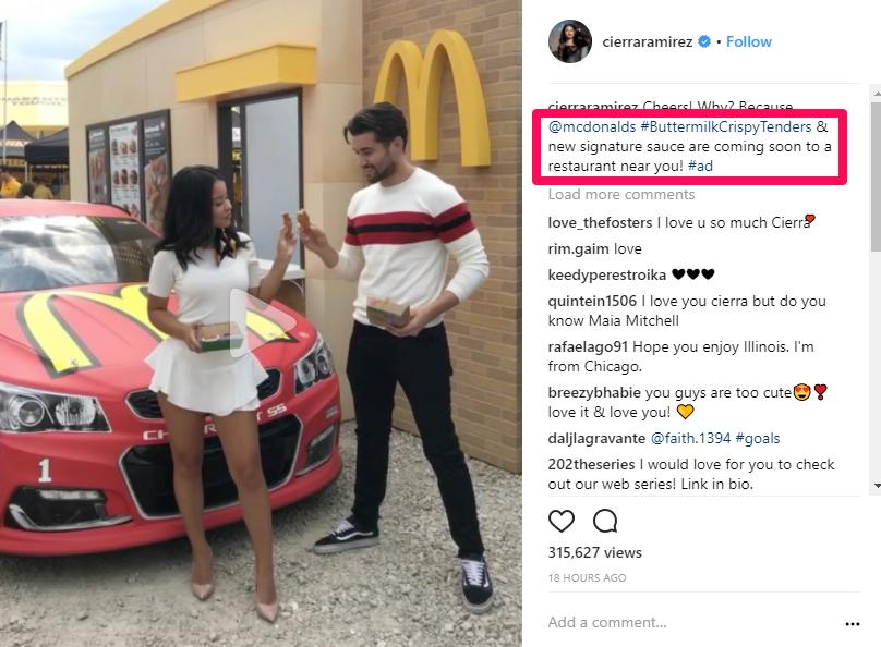 instagram influencers mcdonalds example