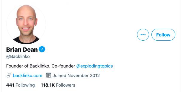 Contoh Profil Media Sosial Backlinko Twitter