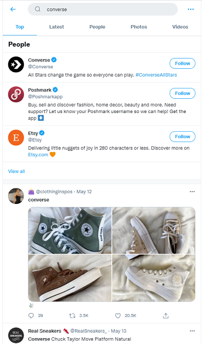 converse example of a twitter advanced
