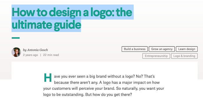Examples of Great Content Guides - How to Design a Logo