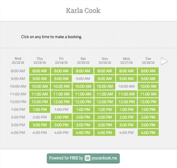 YouCanBook.me Scheduling tool interface